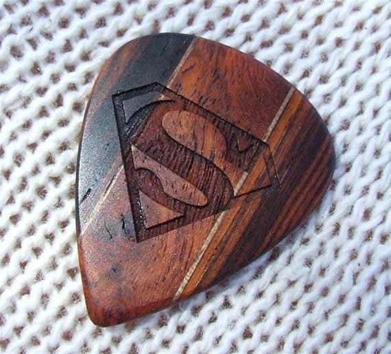 Tribute to Superman - Handmade - Custom Engraved Exotic Woods Premium Guitar PIck
