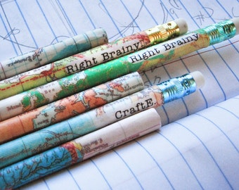 PERSONALIZED  Map Pencils for Travelers by Right Brainy