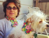 Hand-knit and crocheted pet scarves