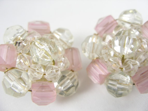 Vintage Germany Faceted Rose Glass Cluster Bead Clip Earrings