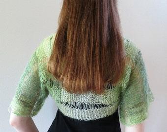 Apple Creen Color Lacy Acrylic Mohair Wool Handknitted Shoulder Shrug Bolero Sleeves