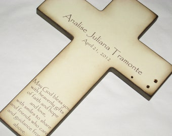 Personalized Christian Cross With Poem- Beautiful Baptism Gift