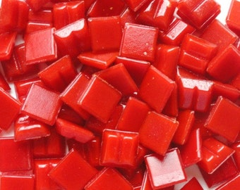 "100 Bright Red Mini Vitreous Glass Mosaic Tiles 3/8"" Beveled Keyed//Mosaic Supplies//Mosaic//Mosaic Piece//Craft Supplies"
