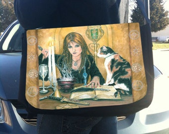 Magical Sorceress and Cat Messenger Bag With Changeable Hand Pressed Flap