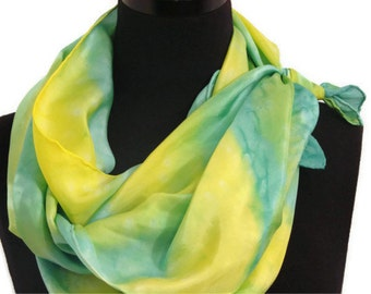 Lemon-Lime Hand Painted Silk Scarf