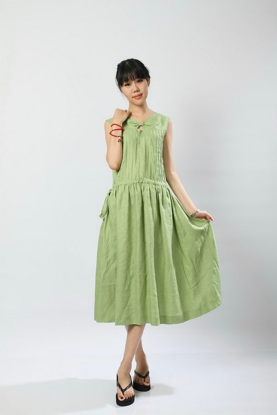 Good Life-Grass green linen Sundress(more colour and size choice)
