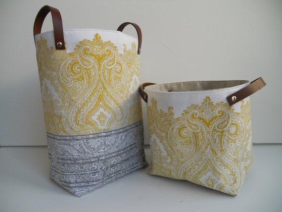 Set of 2 Hand block printed Linen Fabric Storage Buckets Raja in Ochre