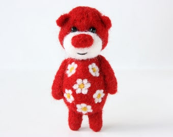 Bright red pocket bear with cammomiles 36