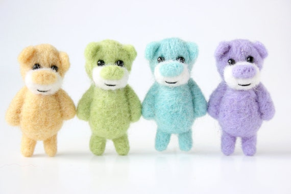 A set of 4 miniature pastel bears - for a special price