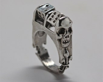 Roll the dice ring in silver with moving dice made in NYC Blue Bayer Design