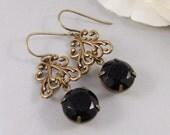 SALE Gemma,Earring,Vintage Earrings,Black Rhinestone, Earrings,Rhinestone,Brass Earrings.Handmade jewelry by Valleygirldesigns.