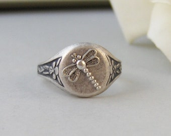 Vintage Dragonfly,Ring,Silver Ring,Silver Dragonfly,Ring,Dragonfly Ring,Antique Ring,Victorian,Handmade jewelery by valleygirldesigns.