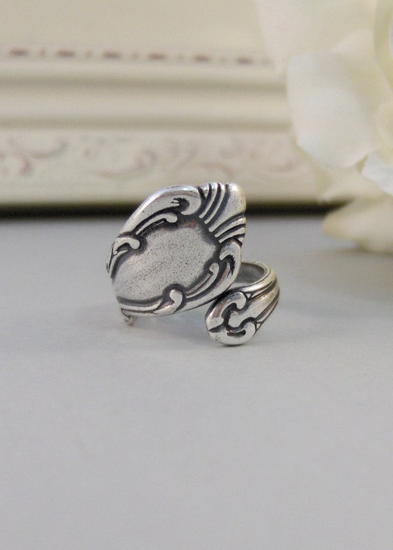 Antique Spoon,Ring,Silver,Spoon,Spoon Ring,Antique Ring,Silver Ring,Wrapped,Adjustable,Bridesmaid. Handmade jewelery by valleygirldesigns.