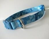 EXTRA LARGE Printed blue bones camo dog collar
