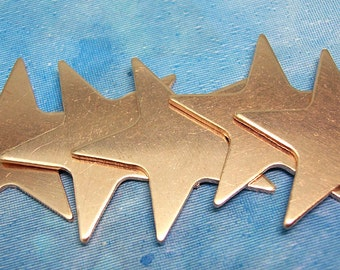 Copper Stars 23mm for Enameling Stamping Texturing Soldering Blanks - 6 pieces