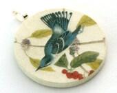 Pendant, Vintage Blue Jay, Handmade Decoupaged, Free Shipping, Retropage, Unique Gift, Handmade Necklace