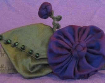 Flower Brooch - Handmade Deep Purple Silk Taffeta Brooch with Beaded Leaf and Chinese Knot Accents