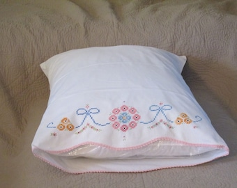 Vintage Embroidered and Crochet Edged Colorful Single Pillowcase