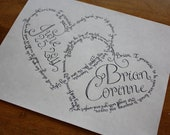 intertwined hearts custom wedding vow calligraphy