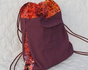 Recycled cargo backpack - Purple/maroon with bright batik trim