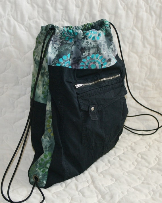 Recycled cargo backpack with batik trim and lots of pockets