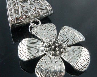 Scarf Pendant - Beautiful Silver Flower Scarf Jewelry