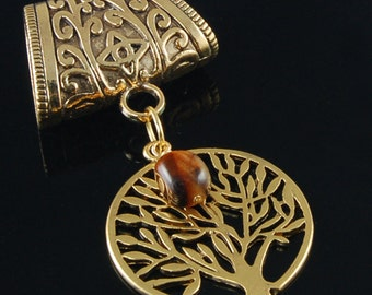 Scarf Pendant - Antique Gold Tree of Life with Tiger Eye Scarf Jewelry