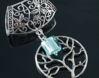 Scarf Pendant - Silver Tree of Life with Aqua Art Glass Scarf Jewelry
