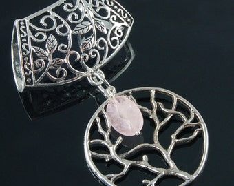 Scarf Pendant - Silver Tree of Life with Rose Quartz Scarf Jewelry
