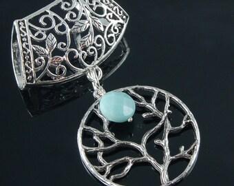 Scarf Pendant - Silver Tree of Life with Amazonite Gemstone Scarf Jewelry