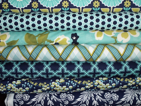 Modern Meadow fabric bundle in Lake and Pond 1/2 yard each total of 4 yards