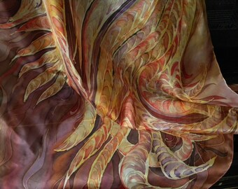 Custom hand painted silk shawl/ huge wrap/ XXL scarf designed specially for you based on your ideas