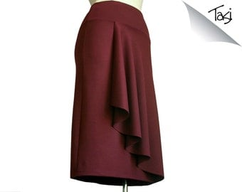 Plus size wrap skirt - elegant flattering classic and casual asymmetrical handmade skirt with elastic waistband -  made to order skirt