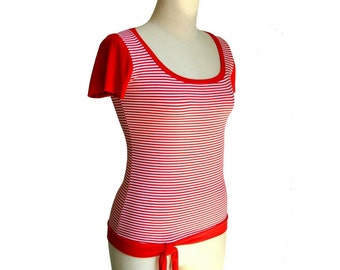 Striped top, Summer short sleeve top, Nautica top, Red stripes blouse, Romantic womens top, Custom top, Round neck top, Handmade top by Tasi