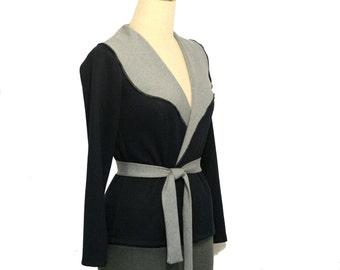 Winter jacket, custom jacket, Long sleeve jacket, Plus size jacket, Wrap jacket, Made to order, Stripe jacket, Blue jacket, Cardigan, Jacket