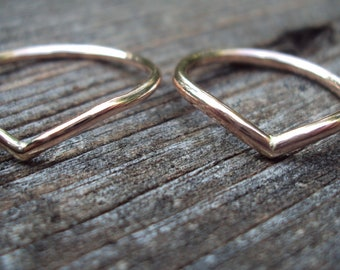 Chevron, etsy jewelry, ring, ROSE gold, band, 16g thick, 14kt, gold fill, smooth finish, any size
