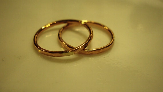 1 ring - etsy jewelry, 14kt ROSE gold filled, stacking, faceted, hammered, any size,