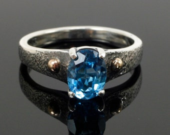 Topaz and Sterling Sandcastle Ring