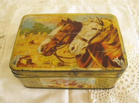 SALE.Vintage Tin with Horses Rustic Barn Wedding Decor