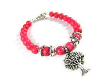 Red Turquoise Spiritual Beaded Bracelet with Tree of Life-Rare and Healing