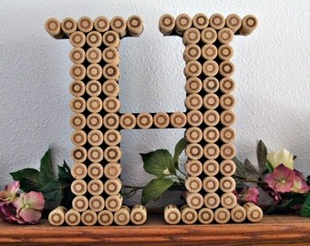 "12""- Handmade Wine Cork Letter- Monogram- Perfect for a Vineyard Wedding"