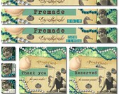 Premade Etsy Shop Set, Premade Banners, Avatars, Thank you, Reserved graphic, Vintage Postcard Beach Flapper Jewelry Vintage Shells Seahorse