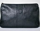 Vintage FENDI Clutch Oversized Monogram Embossed Black Leather Handbag - AUTHENTIC -
