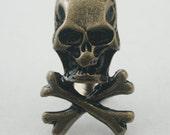 5 pcs.Zinc Brass Skull Crossbone Rivets Studs Buttons Decorations Findings 18 mm. SK RBR1830 K
