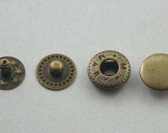 20 sets Antique Brass Snaps Buttons Fasteners Rivet Stud Decorations Findings 10 mm. SNP Br VT 2 11 RV K