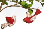 Scarlet and Stripe - Fabric Bird Ornaments