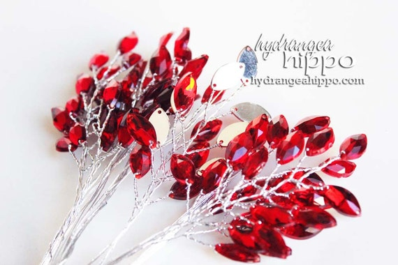 Beaded Spray - 2 Sets - 24 Pieces - 3 inches long -  Ruby Red