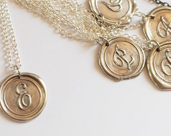 Buy 4 get the 5th Free/  Monogrammed Initial Wax Seal Pendant / perfect gift idea for HER