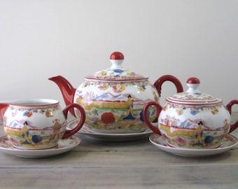 Asian Motif China Tea Service Eight Pieces