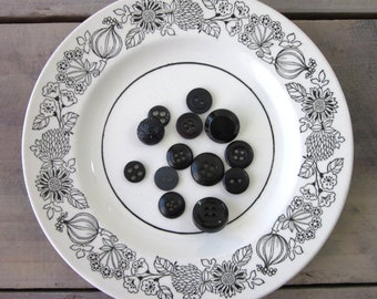 Black and White Ironstone Plate with Floral Design